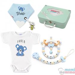 Cesta de Nascimento Mãe e Bebê Koala Natural Blue |Parabéns Mãe, bem-vindo bebê