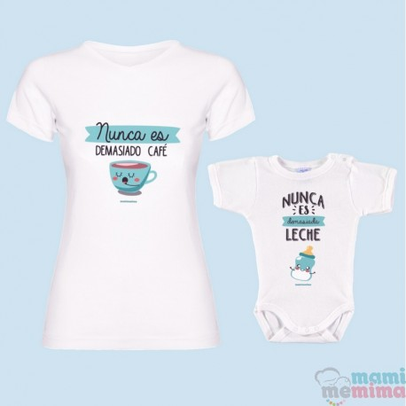 """Pacote Camiseta Maê e Body Bebê """"café nunca é suficiente"""""""