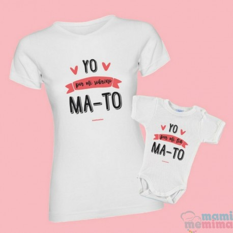Pacote Camiseta da tia e body sobrinho/a