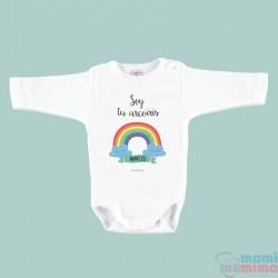 """Body Bebê Personalizado com o Nome """"Eu sou seu arco-íris"""""""