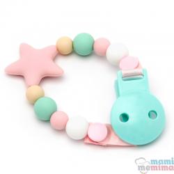 Corrente de Chupeta Mordedor em Silicone Star Pink&Mint
