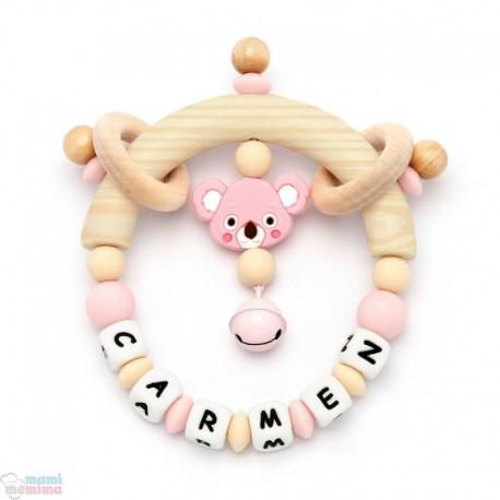 Chocalho Mordedor Personalizado Com Nome Pink&Mint