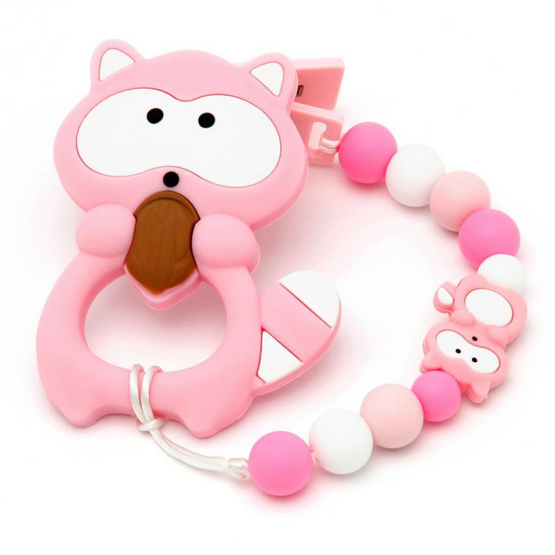 Pack Corrente de Chupeta + Mordedor Bebê Guaxinin Pink