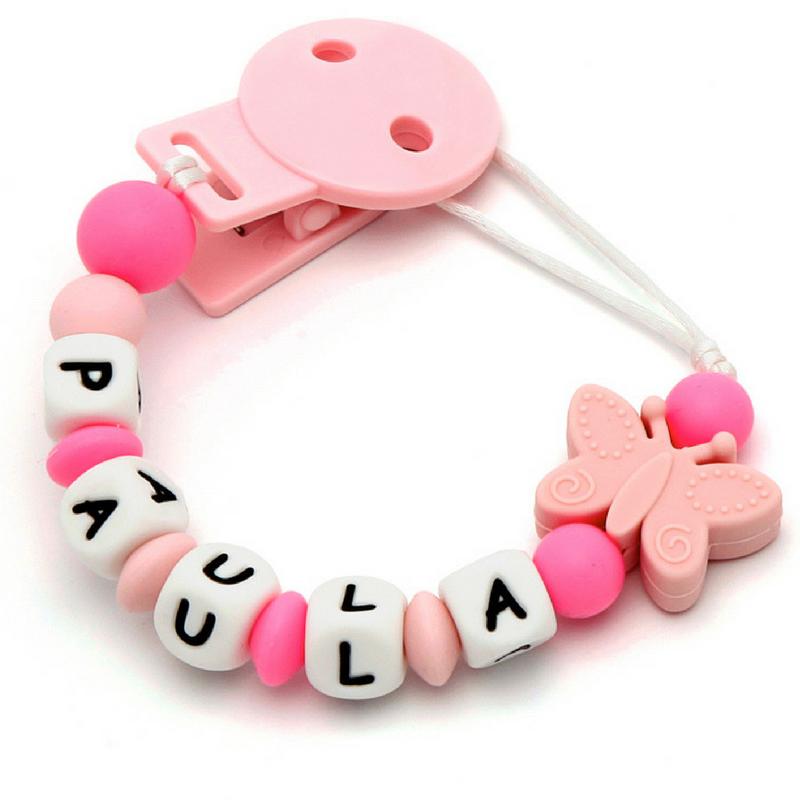 Corrente de Chupeta Mordedor em Silicone Com o Nome Borboleta Pink+Pink